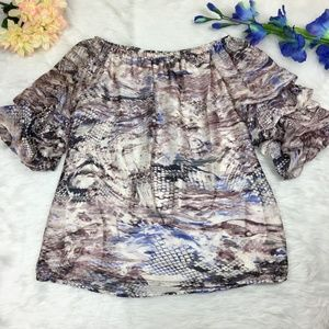 MSK Off The Shoulder Balloon Sleeve Blouse Size M